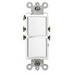 Leviton 5634-T Decora® Double AC Combination Switch; 120/277 Volt AC, 15 Amp, 1-Pole, Grounding, Light Almond