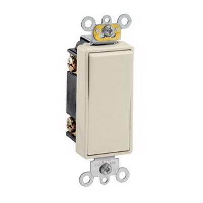 Leviton 5623-2T Decora Plus® Commercial Rocker 3-Way AC Quiet Switch; 1-Pole, 120/277 Volt AC, 20 Amp, Light Almond