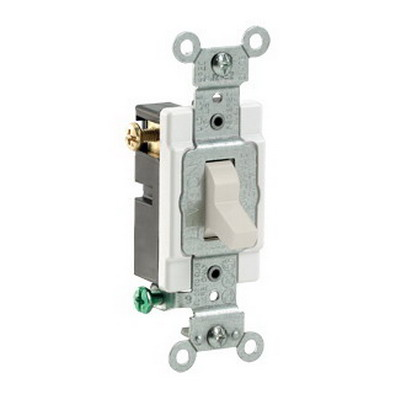 Leviton CS315-2T Commercial Toggle 3-Way AC Quiet Switch; 1-Pole, 120/277 Volt AC, 15 Amp, Light Almond