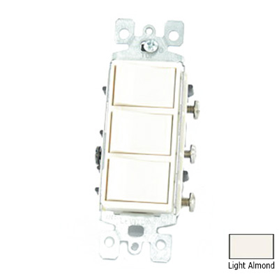 Leviton 1755-T Decora® AC Combination Switch; 120 Volt, 15 Amp Switch, 20 Amp Total Device, 1-Pole, Non-Grounding, Light Almond