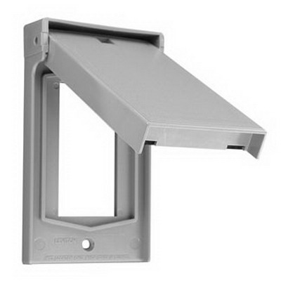 Leviton 4998-GY Decora® 1-Gang Weather-Resistant Cover; Device Mount, Thermoplastic Nylon, Gray