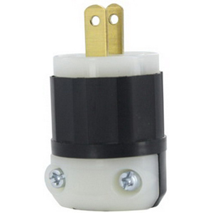 Leviton 5866-C Black & White® Non-Grounding Straight Blade Plug; 15 Amp, 125 Volt, 2-Pole, 2-Wire, NEMA 1-15P, Black/White