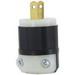 Leviton 5866-C Black & White® Non-Grounding Straight Blade Plug; 15 Amp, 125 Volt, 2-Pole, 2-Wire, NEMA 1-15P, Black/White