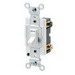 Leviton 54504-2W Commercial Toggle Framed 4-Way AC Quiet Switch; 2-Pole, 120/277 Volt AC, 15 Amp, White