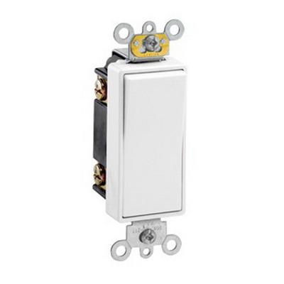 Leviton 5623-2W Decora Plus® Commercial Rocker 3-Way AC Quiet Switch; 1-Pole, 120/277 Volt AC, 20 Amp, White