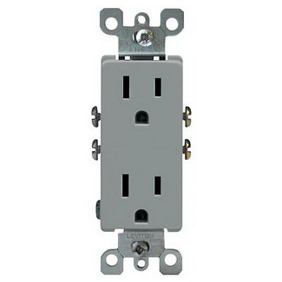 Leviton 5325-GY Decora® Straight Blade Duplex Receptacle; Wallplate Mount, 125 Volt, 15 Amp, 2-Pole, 3-Wire, NEMA 5-15R, Gray