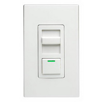 Leviton IPI06-1LZ IllumaTech Single Pole 3-Way Electro-Mechanical Preset Slide Dimmer; 120 Volt AC, 600 Watt, Incandescent/LED, White