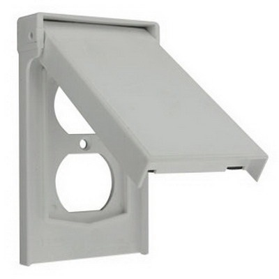 Leviton 4978-GY 1-Gang Weather-Resistant Cover; Device Mount, Thermoplastic Nylon, Gray