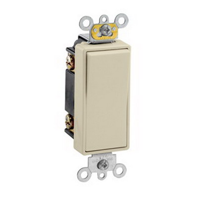 Leviton 5623-2I Decora Plus® Commercial Rocker 3-Way AC Quiet Switch; 1-Pole, 120/277 Volt AC, 20 Amp, Ivory