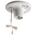 Leviton 8827-CW2 Pull Chain Incandescent Lampholder; 250 Volt, 660 Watt, Medium Base, Twist-lock, Box Mount, White
