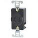 Leviton 7210-B Locking Single Receptacle; Box Mount, 250 Volt, 20 Amp, 2-Pole, 2-Wire, NEMA L2-20, Black