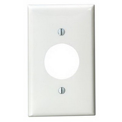 Leviton 80704-W Standard Size 1-Gang Single Receptacle Plate; Device Mount, Thermoplastic Nylon, White