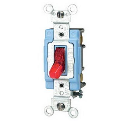 Leviton 1203-PLR Toggle Pilot Light 3-Way AC Quiet Switch; 1-Pole, 120 Volt, 15 Amp, Red