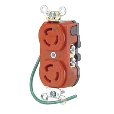 Leviton 4700-IG Isolated Ground Locking Duplex Receptacle; Flush Mount, 125 Volt, 15 Amp, 2-Pole, 3-Wire, NEMA L5-15R, Orange