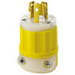 Leviton 4570-CY Black & White® #1CD Polarized Grounding Locking Plug; 15 Amp, 250 Volt, 2-Pole, 3-Wire, NEMA L6-15P, Yellow/White