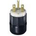 Leviton 5666-C Black & White® Polarized Grounding Straight Blade Plug; 15 Amp, 250 Volt, 2-Pole, 3-Wire, NEMA 6-15P, Black/White