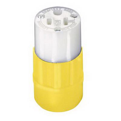 Leviton 5369-CY Black & White® Grounding Polarized Straight Blade Connector; 20 Amp, 125 Volt AC, 2-Pole, 3-Wire, NEMA 5-20R, Yellow/White