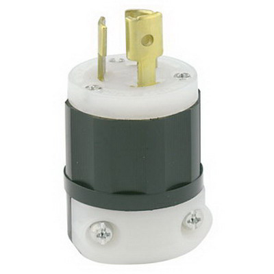 Leviton 4720-C Black & White® Polarized Grounding Locking Plug; 15 Amp, 125 Volt, 2-Pole, 3-Wire, NEMA L5-15P, Black/White