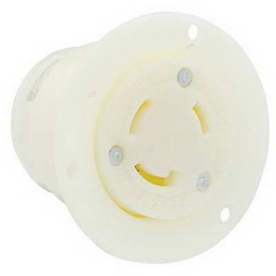 Leviton 4715-C Grounding Flanged Outlet Locking Receptacle; 15 Amp, 125 Volt, 3-Wire, NEMA 5-15R, White