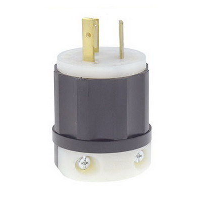 Leviton 4570-C Black & White® Polarized Grounding Locking Plug; 15 Amp, 250 Volt, 2-Pole, 3-Wire, NEMA L6-15P, Black/White