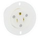 Leviton 5279-C Industrial Straight Blade Grounding Flanged Outlet Receptacle; 15 Amp, 125 Volt, 3-Wire, NEMA 5-15R, White