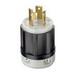 Leviton 2611 Black & White® Polarized Grounding Twist Locking Plug; 30 Amp, 125 Volt, 2-Pole, 3-Wire, NEMA L5-30P, Black/White