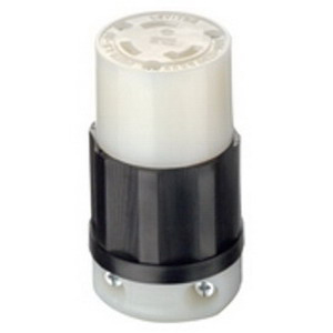 Leviton 2613 Black & White® Grounding Female Twist Lock Connector; 30 Amp, 125 Volt AC, 2-Pole, 3-Wire, NEMA L5-30R, Black/White
