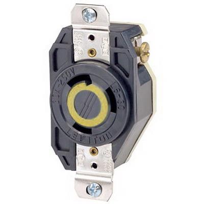 Leviton 2610 V-0-MAX™ Twist Locking Single Receptacle; Flush Mount, 125 Volt, 30 Amp, 2-Pole, 3-Wire, NEMA L5-30R, Black