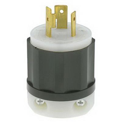 Leviton 2321 Black & White® Grounding Twist Locking Plug; 20 Amp, 250 Volt, 2-Pole, 3-Wire, NEMA L6-20P, Black/White
