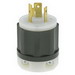 Leviton 2321 Black & White® Grounding Twist Locking Plug; 20 Amp, 250 Volt, 2-Pole, 3-Wire, NEMA L6-20P, Black/White
