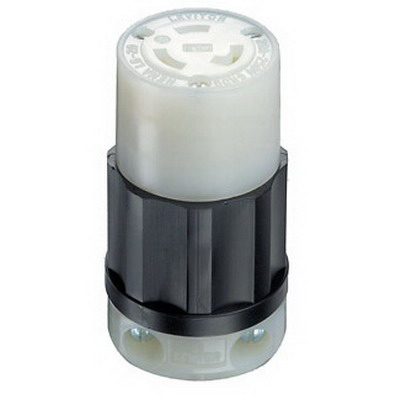 Leviton 2323 Black & White® Grounding Female Twist Lock Connector; 20 Amp, 250 Volt AC, 2-Pole, 3-Wire, NEMA L6-20R, Black/White