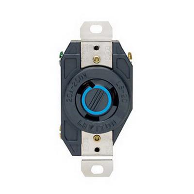 Leviton 2320 V-0-MAX™ Twist Locking Single Receptacle; Flush Mount, 250 Volt, 20 Amp, 2-Pole, 3-Wire, NEMA L6-20R, Black
