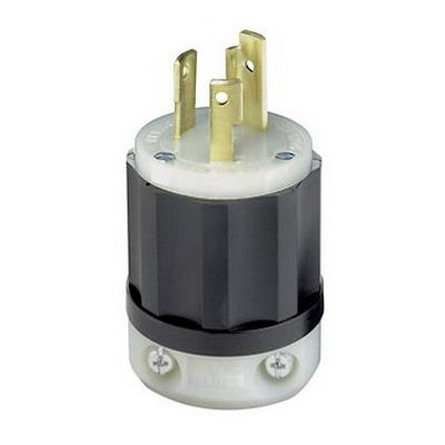Leviton 2621 Black & White® Polarized Grounding Twist Locking Plug; 30 Amp, 250 Volt, 2-Pole, 3-Wire, NEMA L6-30P, Black/White