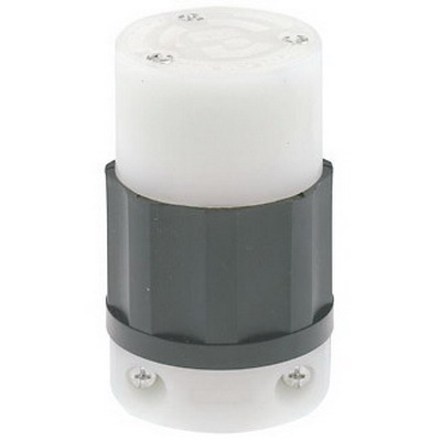 Leviton C2623 Black & White® Grounding Female Twist Lock Connector; 30 Amp, 250 Volt AC, 2-Pole, 3-Wire, NEMA L6-30R, Black/White