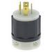 Leviton 2411 Black & White® Polarized Grounding Twist Locking Plug; 20 Amp, 125/250 Volt, 3-Pole, 4-Wire, NEMA L14-20P, Black/White