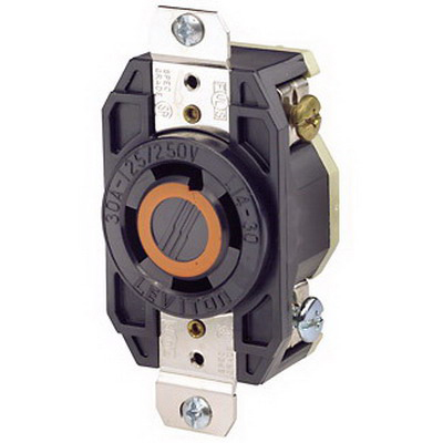 Leviton 2710 V-0-MAX™ Industrial Grade Locking Single Receptacle; Flush Mount, 125/250 Volt, 30 Amp, 3-Pole, 4-Wire, NEMA L14-30R, Black
