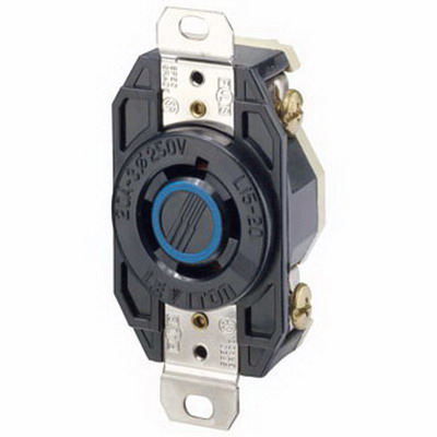 Leviton 2420 V-0-MAX™ Twist Locking Single Receptacle; Flush Mount, 250 Volt, 20 Amp, 3-Pole, 4-Wire, NEMA L15-20R, Black