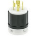 Leviton 2721 Black & White® Polarized Grounding Twist Locking Plug; 30 Amp, 250 Volt, 3-Pole, 4-Wire, NEMA L15-30P, Black/White