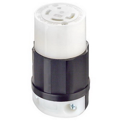 Leviton 2733 Black & White® Grounding Female Twist Lock Connector; 30 Amp, 480 Volt AC, 3-Pole, 4-Wire, NEMA L16-30R, Black/White
