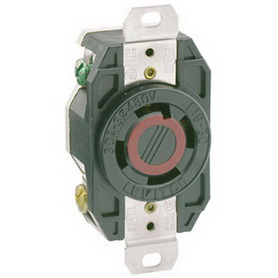 Leviton 2730 V-0-MAX™ Twist Locking Single Receptacle; Flush Mount, 480 Volt AC, 30 Amp, 3-Pole, 4-Wire, NEMA L16-30R, Black