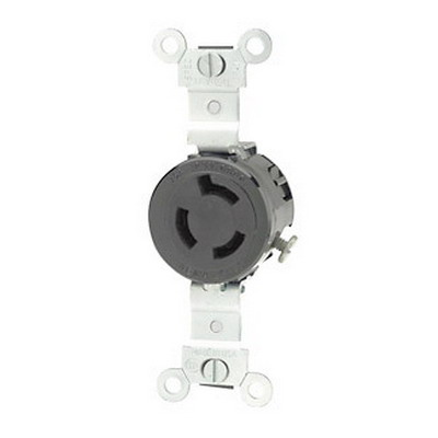 Leviton 4560 Twist Locking Single Receptacle; Flush Mount, 250 Volt AC, 15 Amp, 2-Pole, 3-Wire, NEMA L6-15R, Black