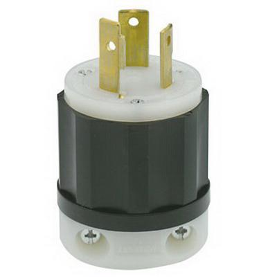Leviton 2641 Black & White® Polarized Grounding Locking Plug; 30 Amp, 480 Volt, 2-Pole, 3-Wire, NEMA L8-30P, Black/White