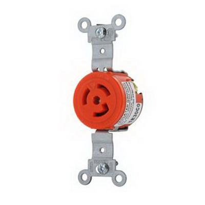 Leviton 4710-IG Specification Grade Isolated Ground Locking Single Receptacle; Flush Mount, 125 Volt, 15 Amp, 2-Pole, 3-Wire, NEMA L5-15R, Orange