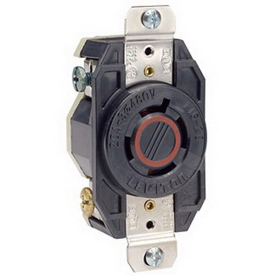 Leviton 2430 V-0-MAX™ Twist Locking Single Receptacle; Flush Mount, 480 Volt, 20 Amp, 3-Pole, 4-Wire, NEMA L16-20R, Black