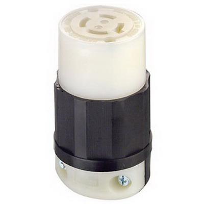Leviton 2433 Black & White® Grounding Female Twist Lock Connector; 20 Amp, 480 Volt AC, 3-Pole, 4-Wire, NEMA L16-20R, Black/White
