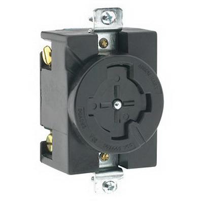 Leviton 20403 Locking Single Receptacle; Flush Mount, 600 Volt AC/250 Volt DC, 30/20 Amp, 3-Pole, 4-Wire, Black