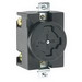Leviton 20403 Locking Single Receptacle; Flush Mount, 600 Volt AC/250 Volt DC, 30/20 Amp, 3-Pole, 4-Wire, Black