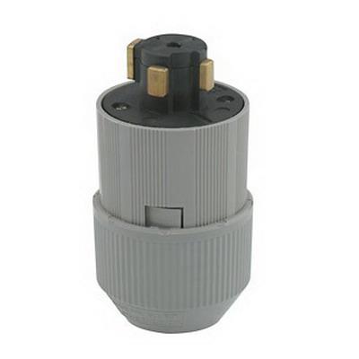 Leviton 21415-B Grounding Locking Plug; 30/20 Amp, 600 Volt AC/250 Volt DC, 4-Pole, 4-Wire, Gray