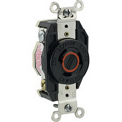 Leviton 2360 V-0-MAX™ Locking Single Receptacle; Flush Mount, 125/250 Volt, 20 Amp, 3-Pole, 3-Wire, NEMA L10-20R, Black