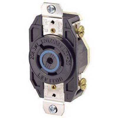 Leviton 2510 V-0-MAX™ Twist Locking Single Receptacle; Flush Mount, 120/208 Volt, 20 Amp, 4-Pole, 5-Wire, NEMA L21-20R, Black